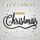 Merry Christmas gift poster. Papercut icon items. Christmas gold. Glittering lettering design. Happy new year design card. Christmas surprise illustration Stock Photo
