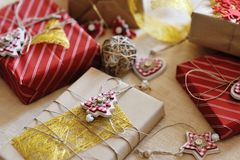 Merry christmas - gift present boxes and decorations Stock Photo