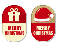 Merry christmas with gift sign and red hat Stock Image