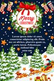 Merry Christmas gift stocking vector greeting card Royalty Free Stock Images
