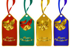 Merry Christmas gift tags. Christmas gift tags in four rich colors Stock Images