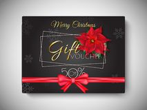 Merry Christmas gift voucher with 50% discount offer, flowers an. D shiny red ribbon decorated on black background for Festival celebration stock illustration
