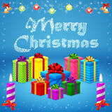 Merry Christmas gifts. Blue background, bells, candles, gifts ribbon Stock Image