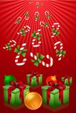 Merry christmas with gifts and candies Royalty Free Stock Images