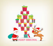 Merry christmas with gifts, deer and santa claus card Royalty Free Stock Photos