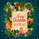 Merry Christmas gifts New Year holiday wish scroll. Merry Christmas winter holiday and Happy New Year celebration wish on paper scroll. Vector Xmas tree wreath royalty free illustration