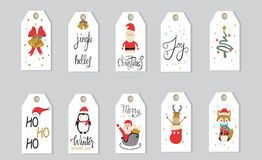 Merry christmas gifts tags  hand lettering  set for winter holid Royalty Free Stock Photo