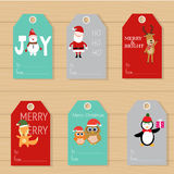 Merry christmas gifts tags  hand lettering  set for winter holid Stock Image