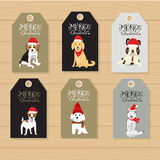 Merry christmas gifts tags  hand lettering  set for winter holid Royalty Free Stock Images