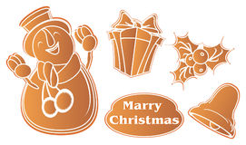 Merry christmas with ginger biscuits Stock Photo