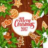 Merry Christmas 2017 gingerbread biscuits poster. Merry Christmas 2017 vector poster of gingerbread biscuit man, christmas tree, snowman, ball, mitten, star Royalty Free Stock Images
