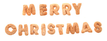Merry christmas from gingerbread christmas alphabet Stock Images