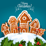 Merry Christmas gingerbread house poster Stock Photography