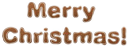 Merry Christmas. Gingerbread lettering text for greeting card Royalty Free Stock Photos