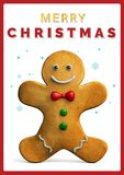 Merry Christmas Gingerbread Man Greeting food; Card. Gingerbread Man Merry Christmas Greeting Card. 3D Illustration stock illustration