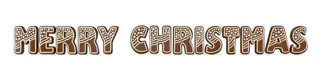 Merry Christmas gingerbread sign. 3D Royalty Free Stock Photo