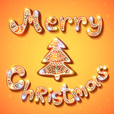 Merry Christmas gingerbread text and tree postcard Stock Image