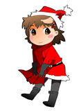 Merry Christmas girl. A cute chibi-manga style, christmas-themed Royalty Free Stock Photos