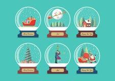 Merry christmas glass ball collection stock illustration