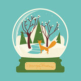 Merry christmas glass ball with fox in the forest Stock Image
