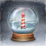 Merry christmas glass ball with lighthouse Stock Photos
