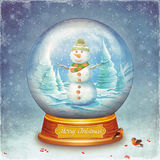 Merry christmas glass ball with snowman on grunge background Stock Photos