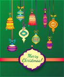 Merry Christmas Glass Balls on Green Background. Ribbon and label for text.  stock illustration