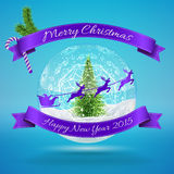 Merry Christmas Glass Snow Ball with xmas treem. Flying santa and happy new year greeting. Vector illustration for card, flyer, artwork, poster, banner Royalty Free Stock Images