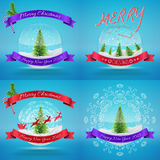 Merry Christmas Glass Snowballs set with xmas tree. And happy new year greeting. Vector illustration for card, flyer, artwork, poster, banner Stock Photo