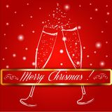 Merry christmas glasses of champagne on a. Background. Vector illustration. EPS 10 Royalty Free Stock Image