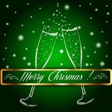 Merry christmas glasses of champagne on a. Background. Vector illustration. EPS 10 Royalty Free Stock Images