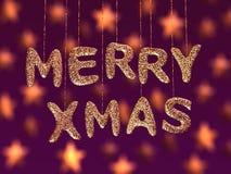 Merry christmas, glitter letters Stock Image