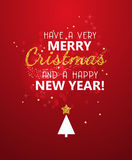 Merry Christmas glitter message on red shining background. New year poster. Royalty Free Stock Photo