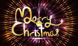Merry Christmas glitter night time banner RGB. This illustration is design clock 12 with golden glitter Merry Christmas in circle effect and banner size Royalty Free Stock Photo