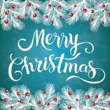 Merry Christmas glittering lettering design. royalty free illustration
