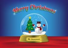 Merry Christmas globe Mr. Snowman with christmas tree royalty free illustration