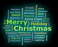 Merry Christmas cyan glow 3D texts greetings word cloud. Merry Christmas cyan color glow 3D texts greetings word cloud  on black background facing front Stock Photos