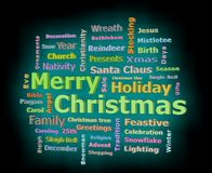 Merry Christmas cyan glow 3D texts greetings word cloud facing left. Merry Christmas glow 3D texts greetings word cloud facing left isolated on black background Royalty Free Stock Photo