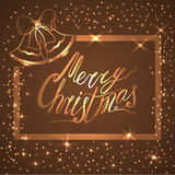 Merry Christmas glowing background into modern frame decorated snowflakes and stars Royalty Free Stock Image