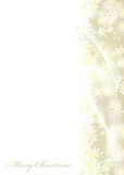 Merry Christmas gold. Merry christmas white background with gold snow flake border Royalty Free Stock Image