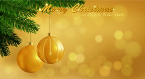 Merry Christmas gold background. Holiday Bokeh background decorated with spruce branch and Christmas ornaments. Vector and raster versions Stock Photography