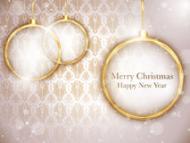 Merry Christmas Gold Balls with Retro Background vector illustration