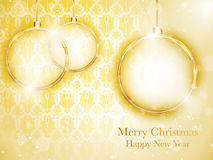 Merry Christmas Gold Balls with Retro Background Stock Photography