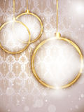 Merry Christmas Gold Balls with Retro Background Stock Images