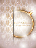 Merry Christmas Gold Balls with Retro Background Royalty Free Stock Image