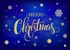 Merry Christmas gold on a blue background. Merry Christmas gold glittering lettering design on a blue background. Vector illustration EPS 10 Stock Photos