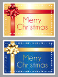 Merry christmas. Gold and blue greeting cards. Royalty Free Stock Image