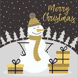 Merry Christmas gold card with snowman vector illustration