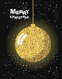 Merry Christmas. Gold Christmas tree toy ball and snow.  Stock Image