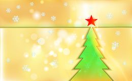 Merry Christmas gold color background with green tree and ornaments from light snowflakes. For New Year. Vector illustration for d. Esign and decorating. Xmas stock illustration